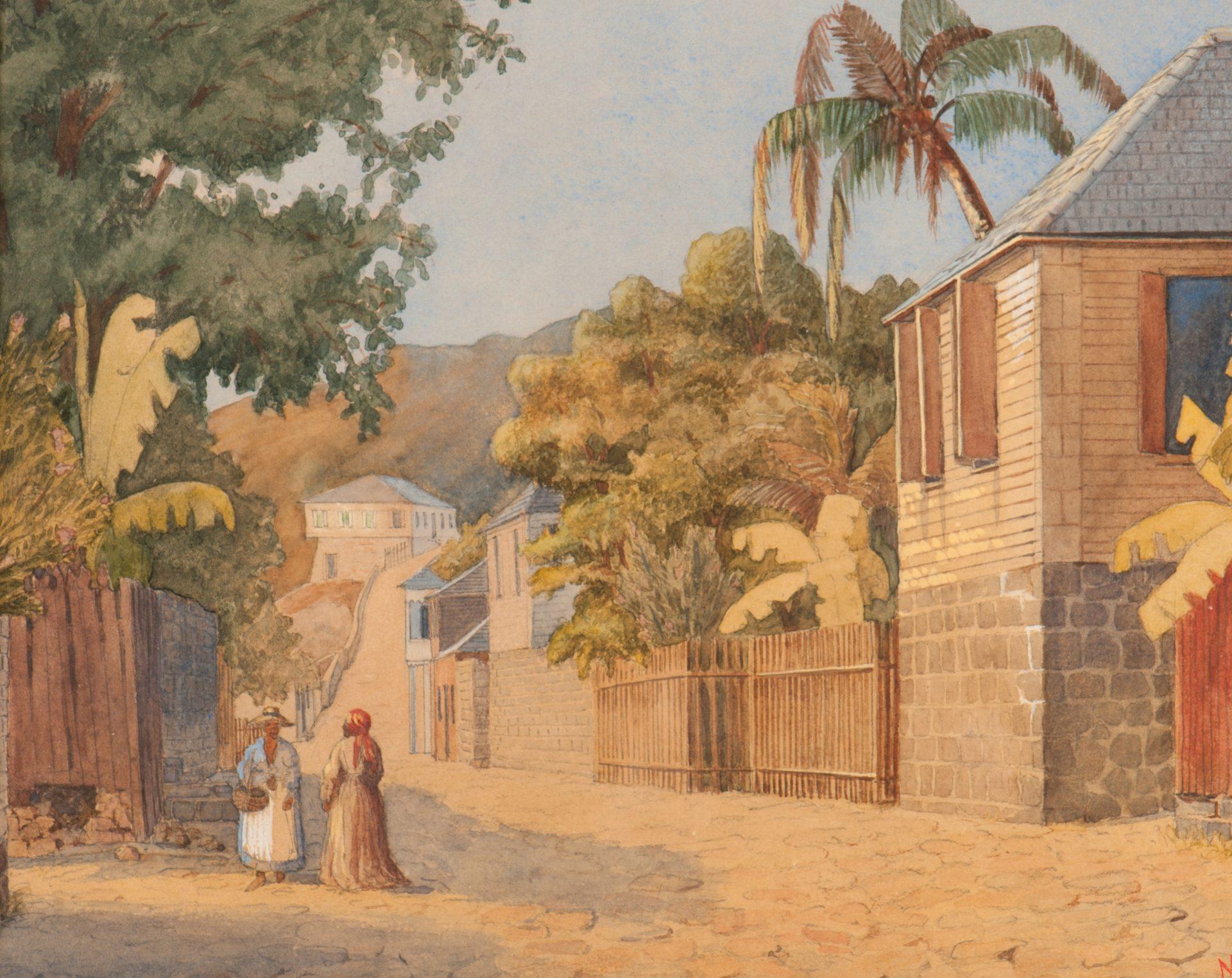 Akvarell som visar en sandig gata omgiven av palmer på ön Sankt Barthélemy.