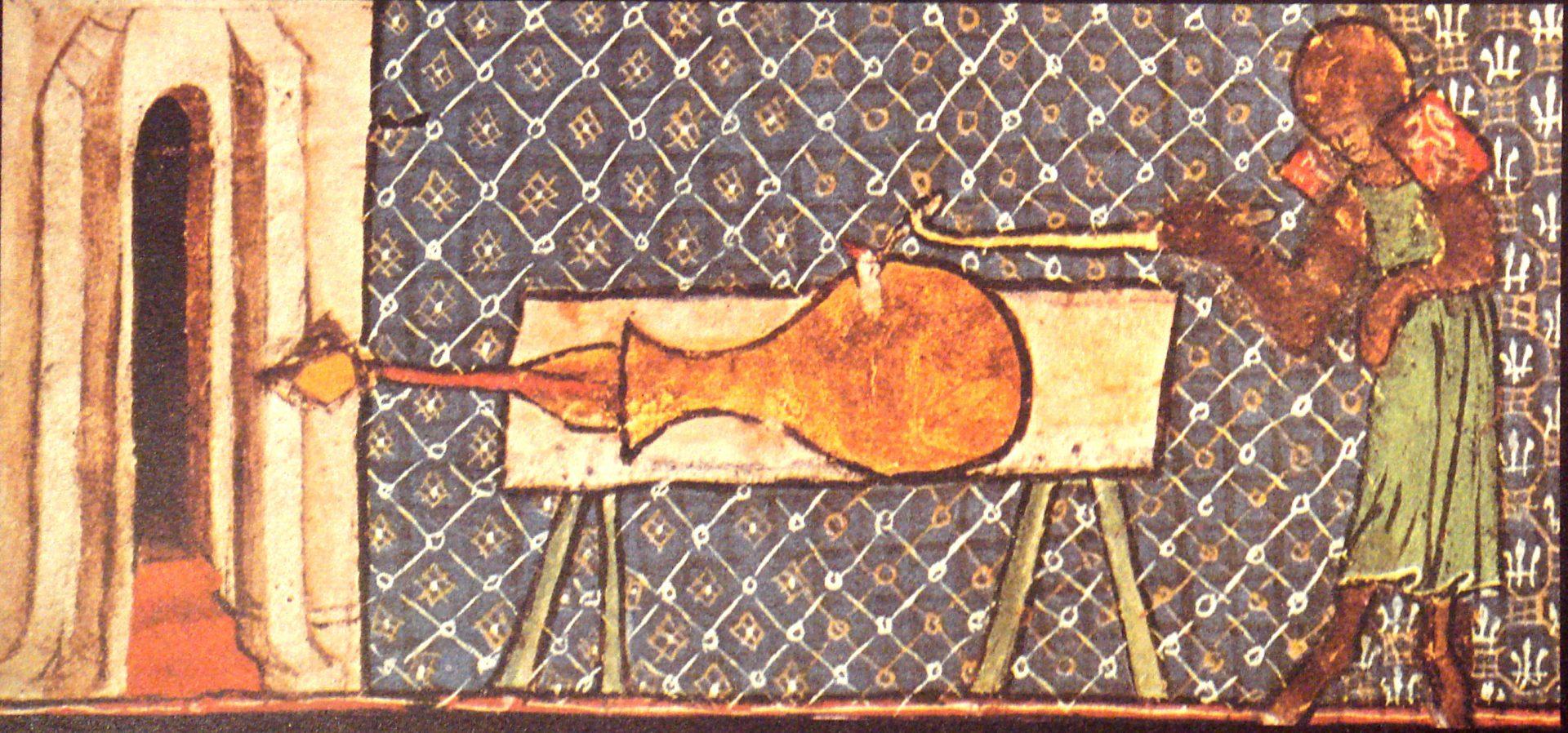 Teckning som föreställer en man som fyrar av en kanon. Kanonen är formad ungefär som en fiol.