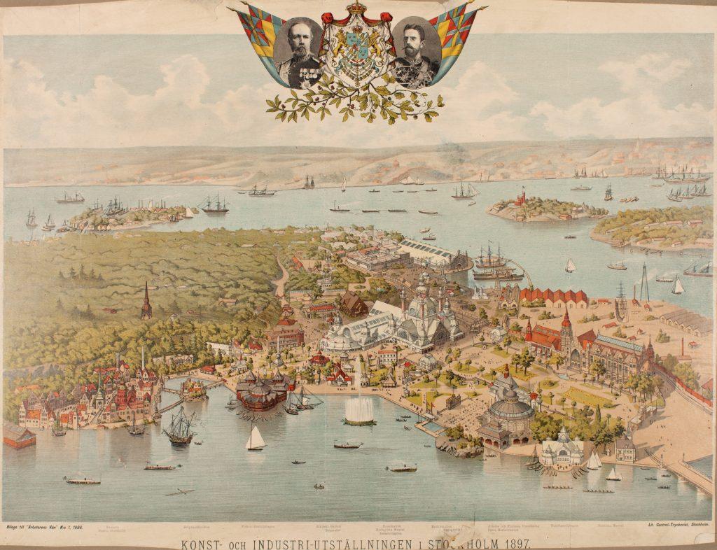 En illustrerad bild av djurgården från konst och industri utställningens tid. Den visar paviliongerna, gator och brorer i området.