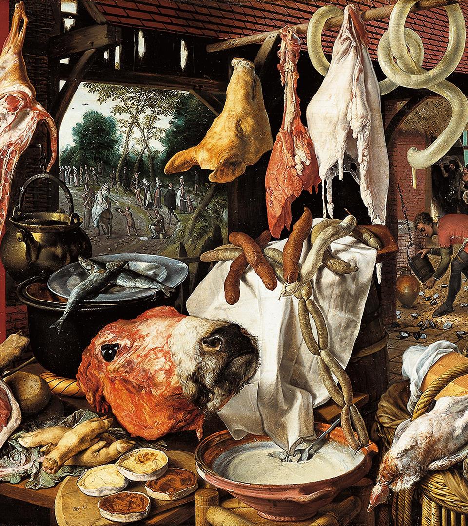 Detalj av en målning som föreställer olika styckdetaljer och korvar i en slaktarbod.