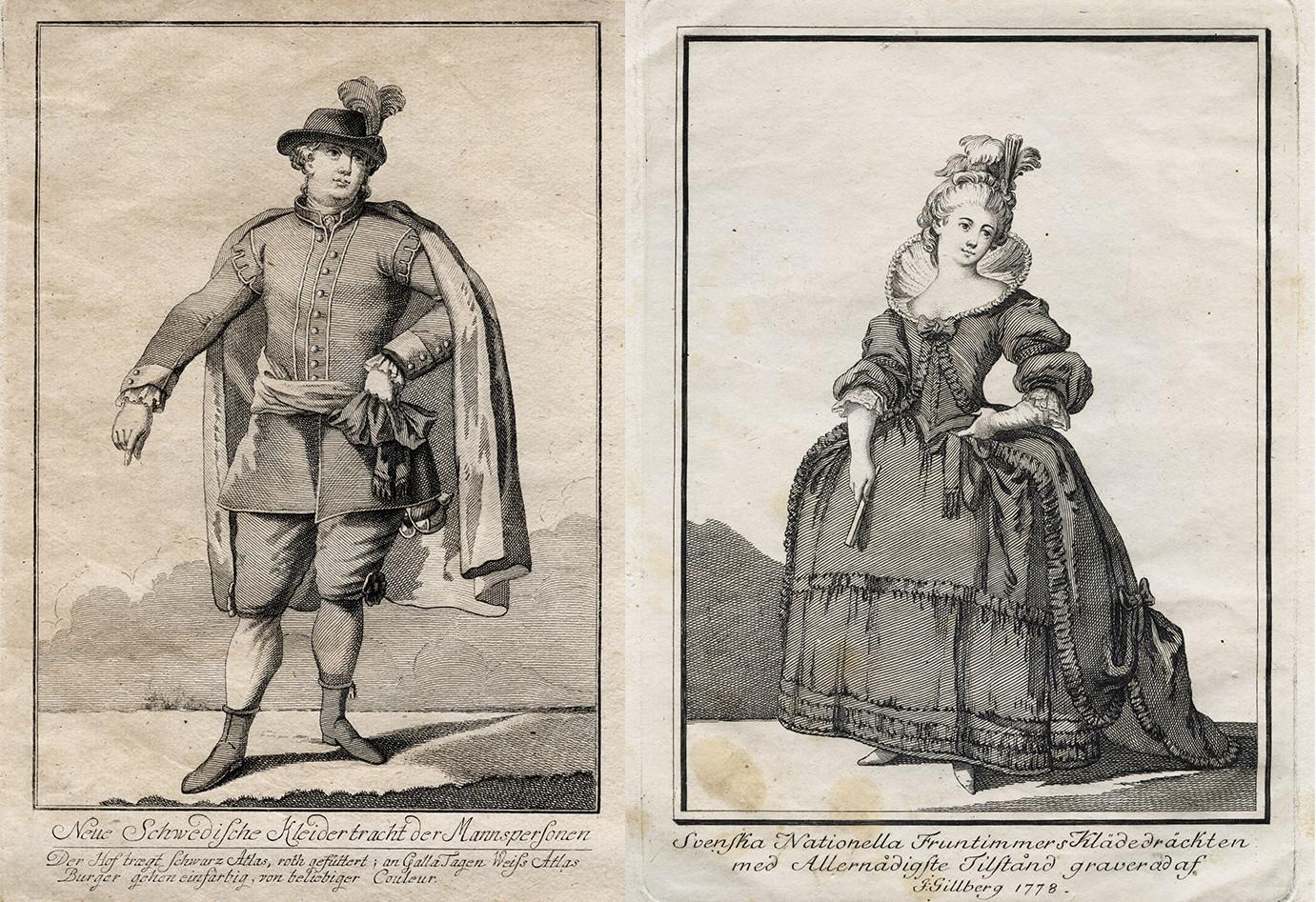 Två gravyrer som visar en man och en kvinna klädda i den nationella dräkten.