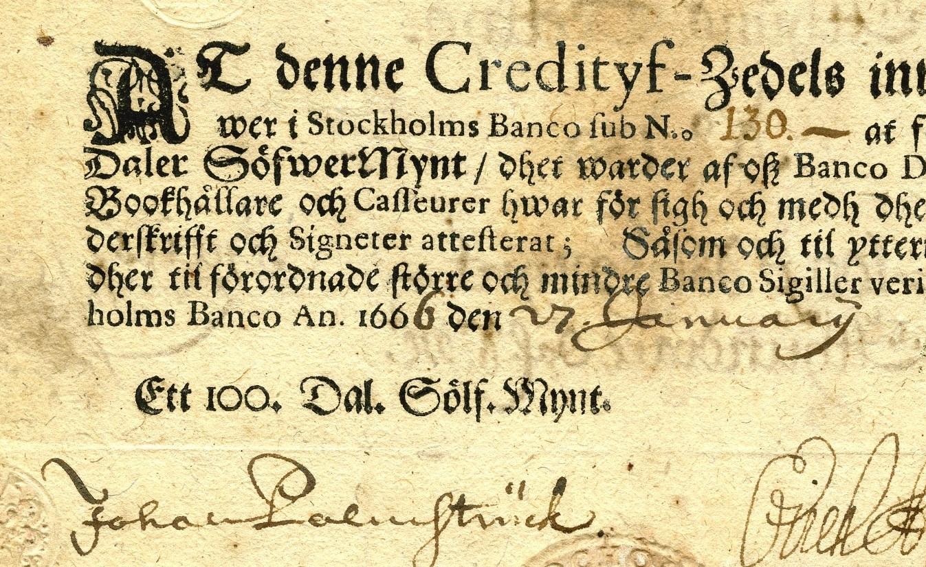 Detalj av en gammal sedel från 1600-talet.