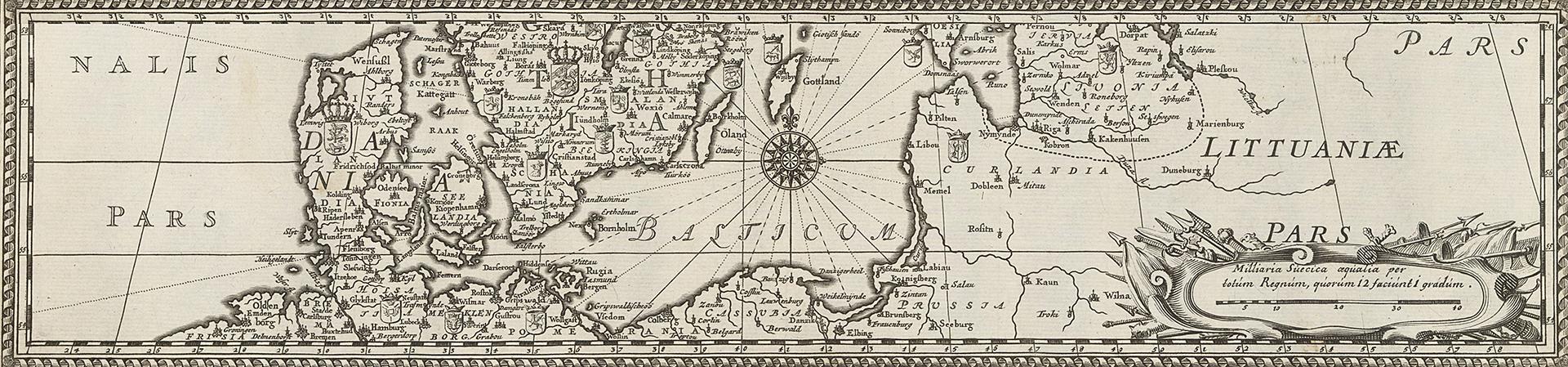 gammal svartvit karta med dekorerad bård runt om.