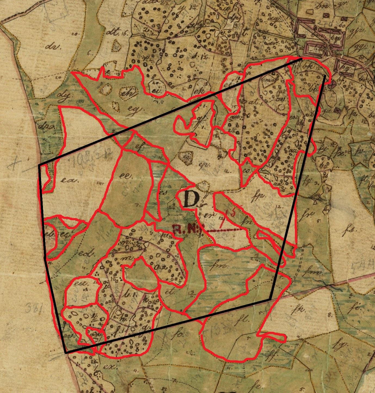 Detalj av en lantmäterikarta med en mängd små tegar utmarkerade.