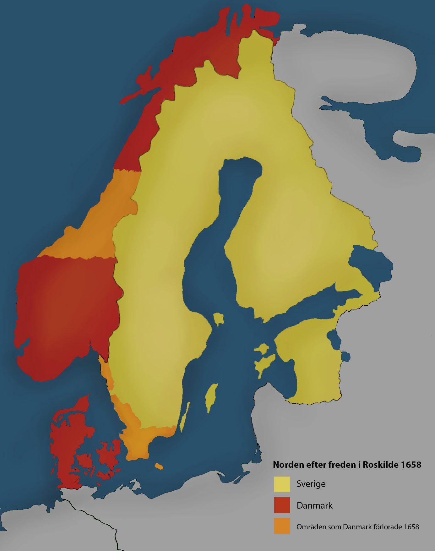 En karta med Danmarks och Sveriges gränser under 1600-talet utmärkta.