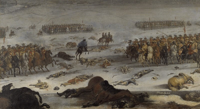 Detalj av en oljemålning med soldater och hästar.