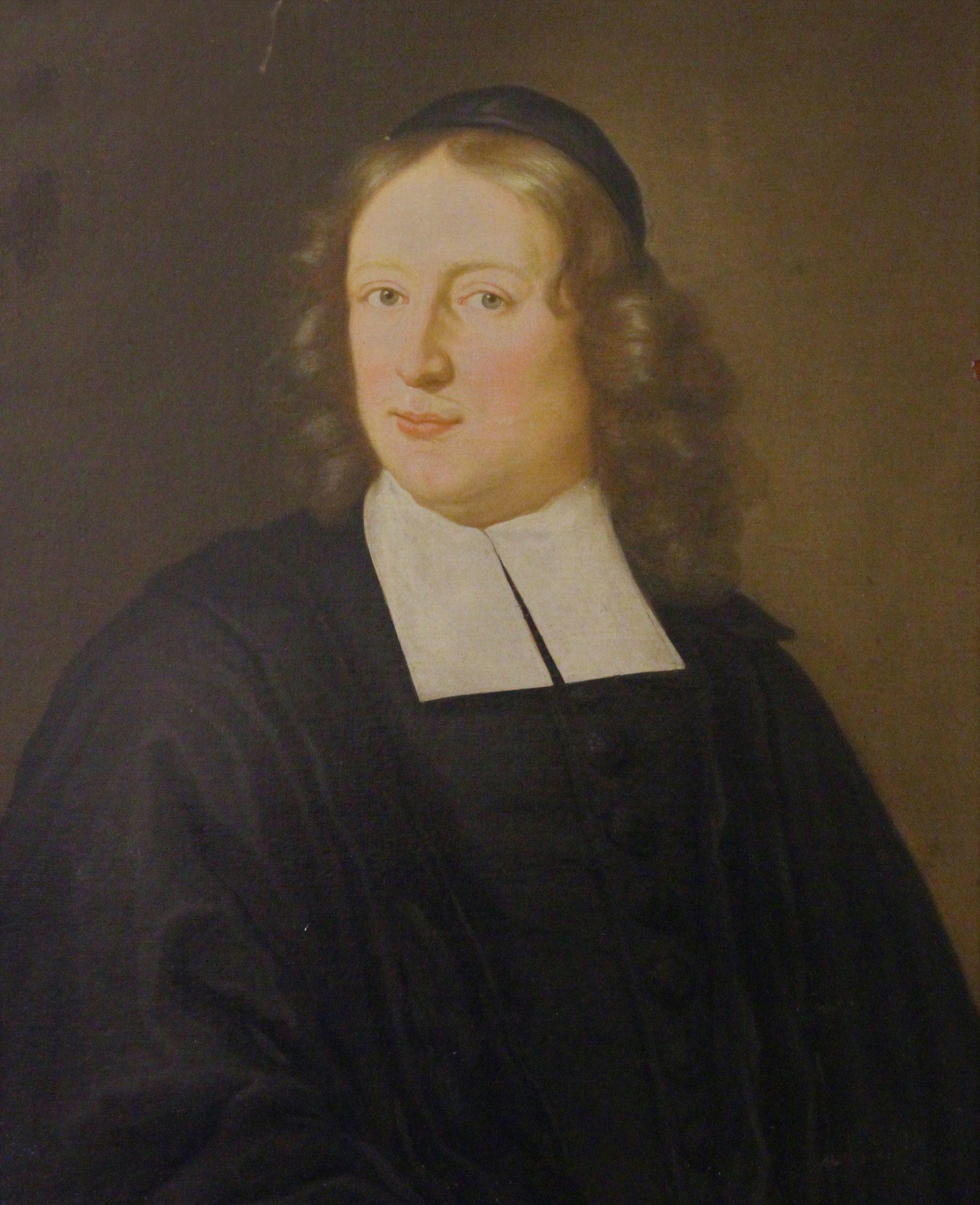 Målning av en präst i svarta kläder, stor vit krage och peruk.