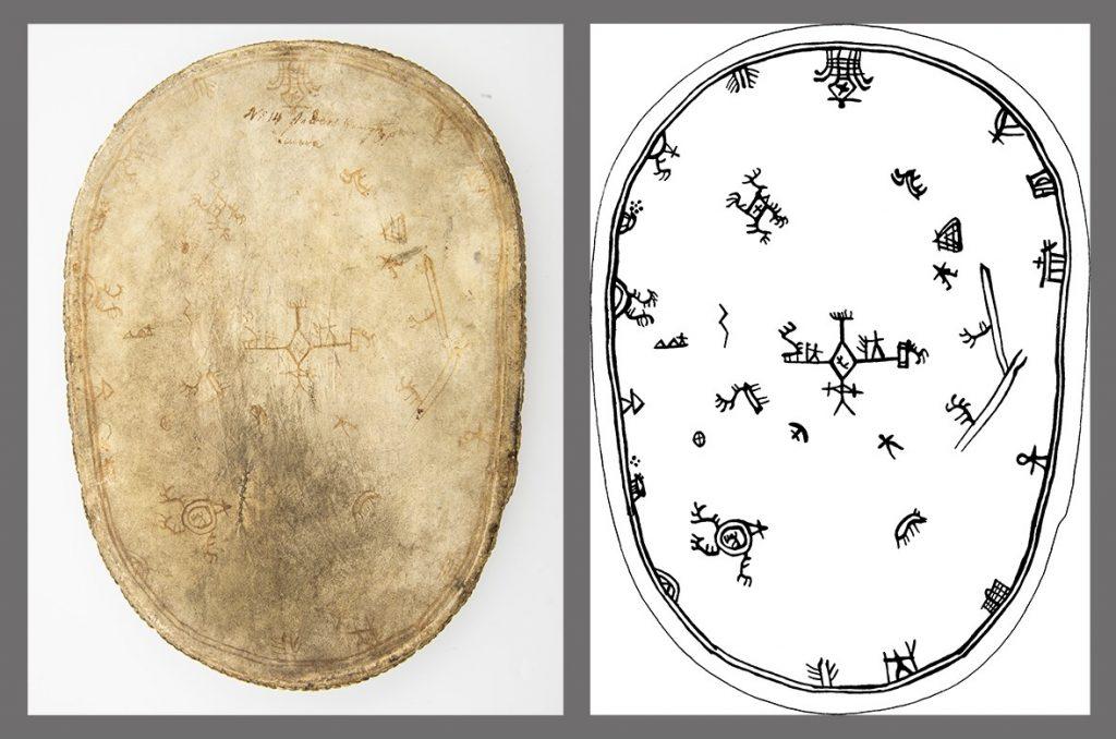 Den samiska trumman samt en teckning av samma trumma.
