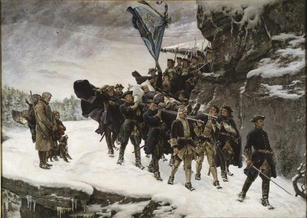 Oljemålning av en lång rad soldater som bär en bår med en död människa i snöstorm.