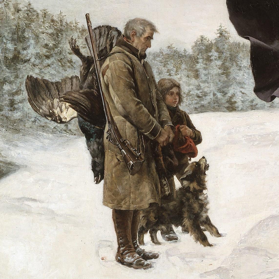 En äldre man och en ung flicka som tittar på processionen.