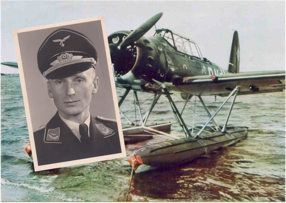 Fotomontage av ett flygplan och en man i uniform.
