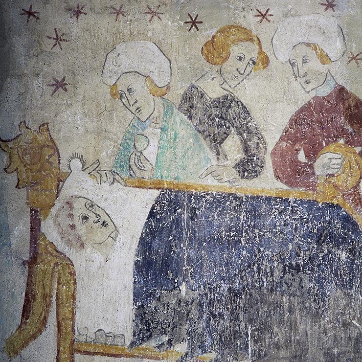 Kyrkmålning som föreställer en man som ligger i en säng och tre personer som står vid sängen och tittar på honom.