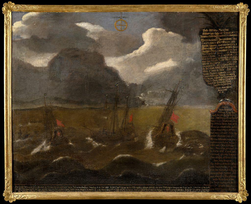 En oljemålning av ett fartyg som går i kvav.