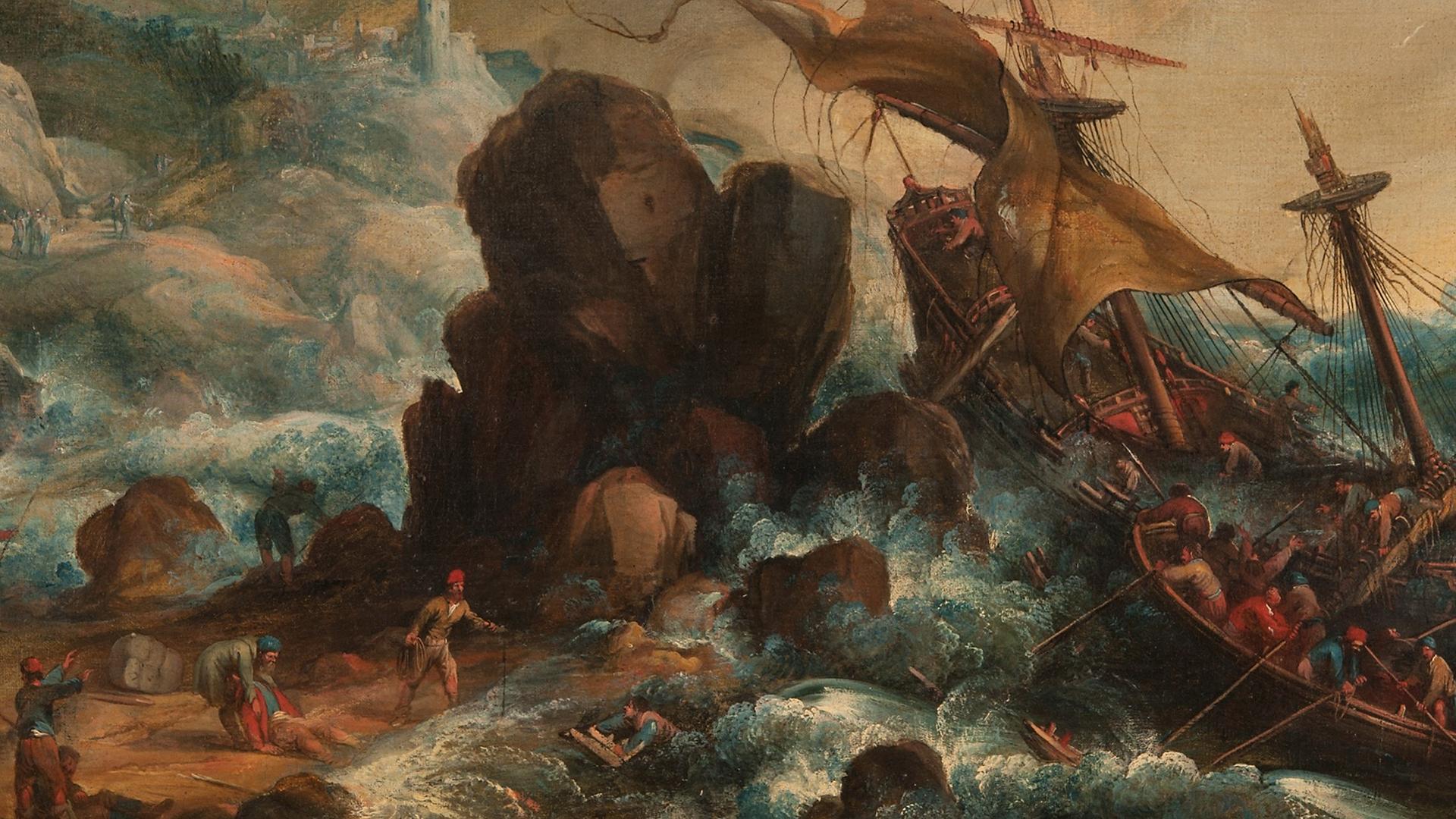 Målning med ett skepp som går under och många män som försöker rädda sig i land.